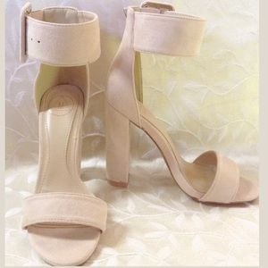Missguided Cream Open Toe Ankle Strap High Heel